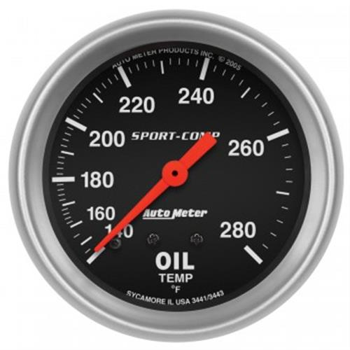 "Auto Meter Sport Comp Oil temperature Gauge - 2 5/8"" 3441"