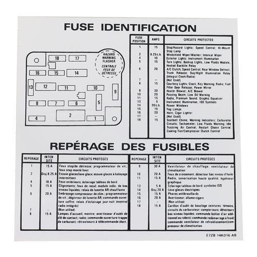 mustang fuse panel cover w/ decal (87-89) - lmr.com audi 4000cs fuse box diagram 86 #7