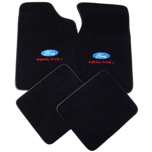 Mustang Floor Mats w/ Ford Racing Logo Black  (79-93) 8886-801-207