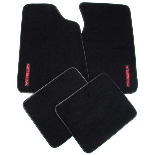 Mustang Floor Mats w/ 93 Cobra Text Logo Black  (79-93) 8886-801-221