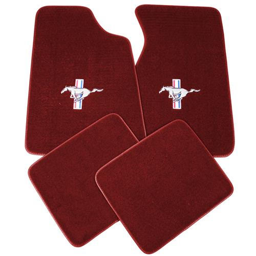 Mustang Floor Mats w/ Pony Logo Canyon Red  (84-86) 8886-7298-110