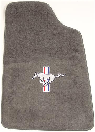 Mustang Floor Mats w/ Tri Bar Pony Logo Smoke Gray (84-89) FM06PN-807-110