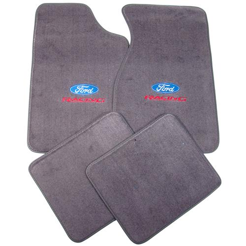 Mustang Floor Mats w/ Ford Racing Logo Dark Smoke Gray (84-89) 8886-807-207