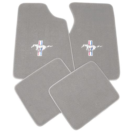 Mustang Floor Mats w/ Pony Logo Light Gray  (85-86) 8886-852-110