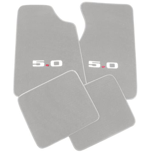 Mustang Floor Mats w/ 5.0 Logo Light Gray  (85-86) 8886-852-219 - Mustang Floor Mats w/ 5.0 Logo Light Gray  (85-86) 8886-852-219