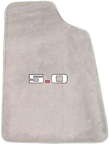 Mustang Light Gray Floor Mats w/ 5.0 Logo (85-86) - Picture of Mustang Light Gray Floor Mats w/ 5.0 Logo (85-86)