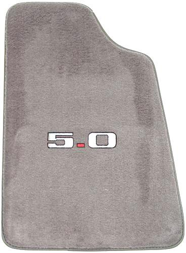Picture of Mustang Opal Gray Floor Mats w/ 5.0 Logo (93-93)
