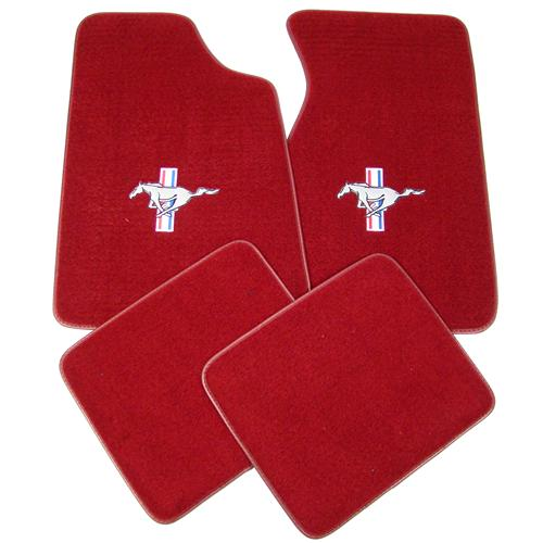 Mustang Floor Mats w/ Tri-Bar Pony Logo  - Medium/Scarlet Red  (82-92) FM06PN-815-110