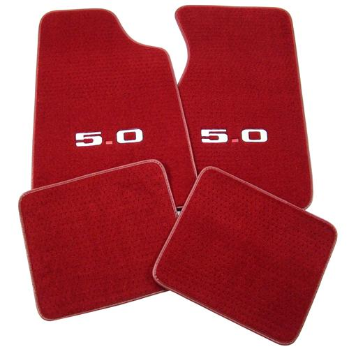 Mustang Floor Mats w/ 5.0 Logo -  Medium/Scarlet Red  (82-92) FM06PN-815-219