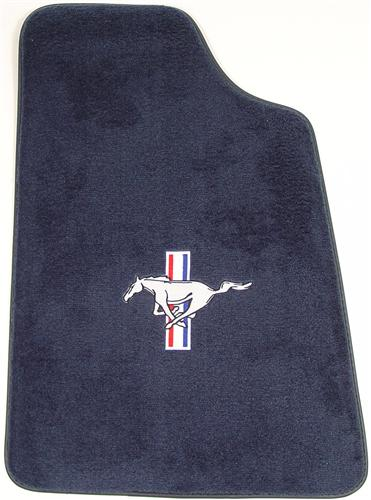 Mustang Floor Mats w/ Pony Logo Regatta/Royal Blue  (85-93) 8886-9304-110