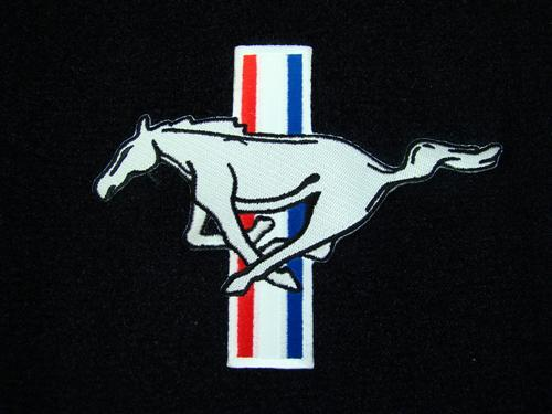 Picture of Mustang Hatch Area Carpet with Running Pony Logo Black (79-83)
