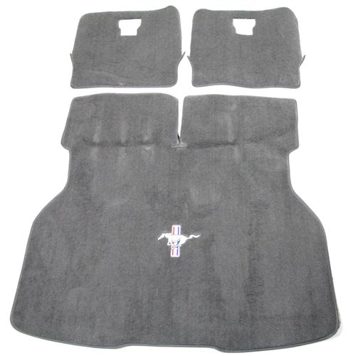 Mustang Hatch Area Carpet with Running Pony Logo Smoke Gray (87-89) - Picture ofMustang Hatch Area Carpet with Running Pony Logo Smoke Gray (87-89)