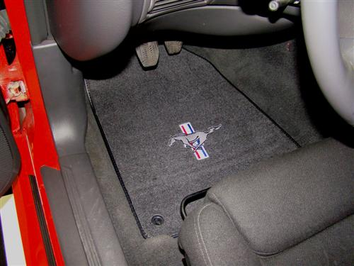 ACC Mustang Floor Mats with Tri Bar Pony Logo Dark Charcoal (99-04) FM93PN-7701-110