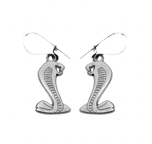 "EARRING SET, COBRA SNAKE, STERLING SILVER, 3/4"" HIGH, FRENCH HOOK CLASP"