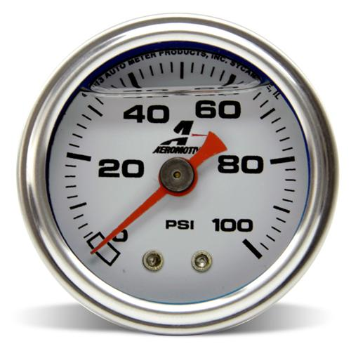 "Aeromotive Mechanical Fuel Pressure Gauge, 1.5"" diameter, 0-100 psi, white face with black markings, Liquid filled"