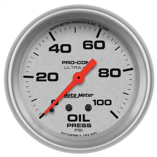 Auto Meter Ultra-Lite Full Sweep Oil Pressure Gauge - 2-5/8