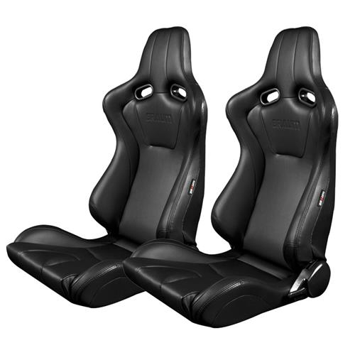 Braum Racing Venom Series Racing Seats  - Black w/ Black Stitching BRR7-BKBK