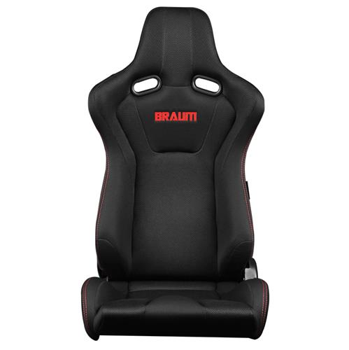 Braum Racing Venom Series Racing Seats  - Black w/ Red Stitching BRR7-BKRS