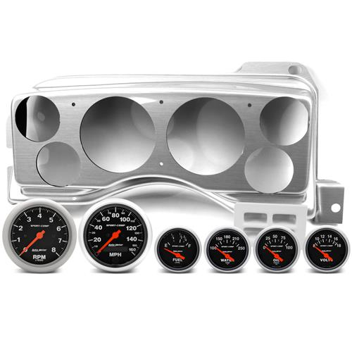 Classic Dash Mustang Instrument Panel & Autometer Gauge Kit  - Brushed Aluminum (87-89)