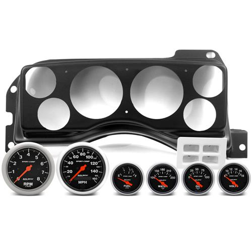 Classic Dash Mustang Instrument Panel & Autometer Gauge Kit  - Matte Black (87-89)