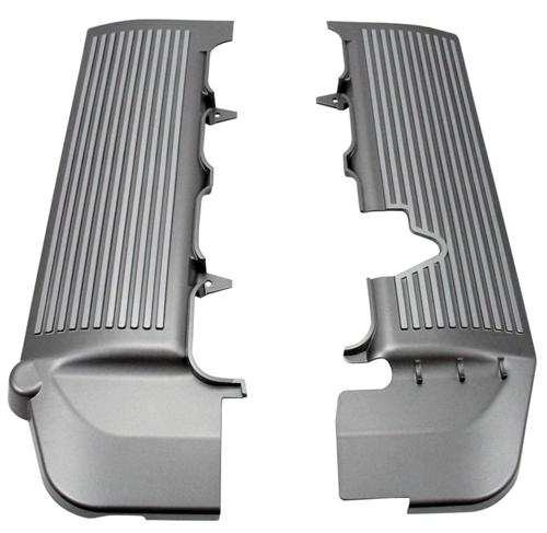 Mustang  Fuel Rail Covers Silver Finned (05-10) GT 4.6L 3V - Picture of Mustang  Fuel Rail Covers Silver Finned (05-10) GT 4.6L 3V