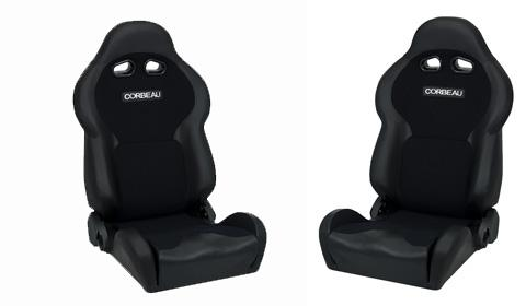 Corbeau VX2000 Seat Pair Black Vinyl with Black Cloth Inserts 20001PR