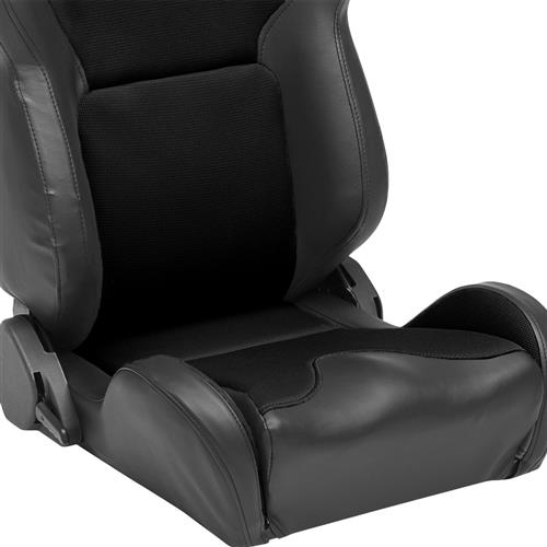 Corbeau Mustang Vx2000 Seat Pair Black Vinyl with Black Cloth Inserts (79-14) 20001PR