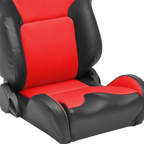 Corbeau Mustang VX2000 Seat Pair Black Vinyl/Red Cloth Insets
