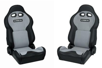 Corbeau Mustang VX2000 Seat Pair Black Vinyl/Gray Cloth Inserts