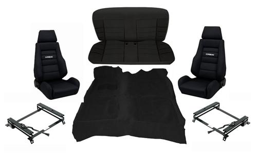 Corbeau Mustang GTS 2 Interior Upgrade Kit Black (83-93) Convertible
