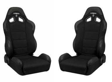 Corbeau Mustang CR1 Wide Seat Pair Black Cloth