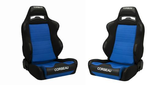 Corbeau Mustang LG1 Seat Pair Black Cloth/Blue Cloth Insert 25505