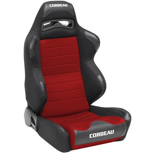 Corbeau Mustang LG1 Seat Pair Black Cloth/Red Cloth Insert 25507