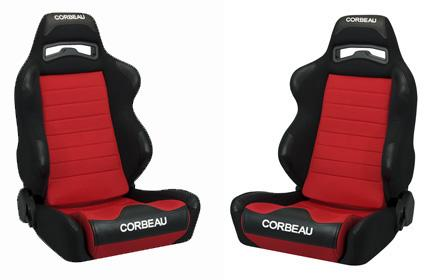 Corbeau Mustang LG1 Seat Pair Black Cloth/Red Cloth Insert