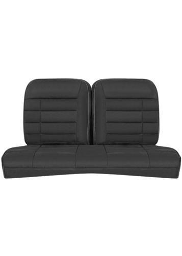 Picture of 1979-93 Mustang Coupe Corbeau Black/Gray Microsuede Rear Seat Upholstery.