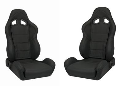 Corbeau Mustang CR1 Seat Pair Black Leather