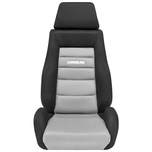 Corbeau Mustang GTS Seat Pair Black Leather/Gray Microsuede Insert LS20309PR