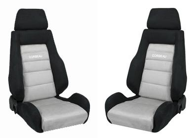 Picture of Corbeau Mustang GTs 2 Seat Pair Black Microsuede/Gray Microsuede Inserts