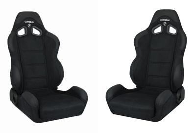 Corbeau Mustang CR1 Wide Seat Pair Black Microsuede - Picture of Corbeau Mustang CR1 Wide Seat Pair Black Microsuede