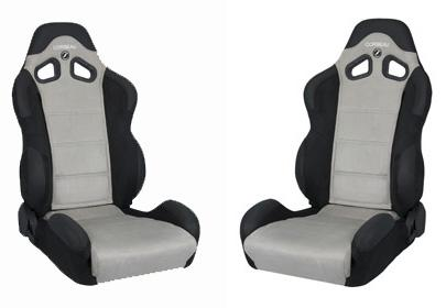 Picture of Corbeau Mustang CR1 Wide Seat Pair Black Microsuede/Gray Microsuede Inserts