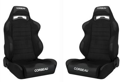 Picture of Corbeau Mustang LG1 Wide Seat Pair Black Microsuede