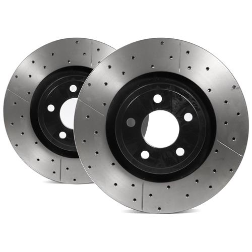 DBA Mustang Street Series Cross Drilled/Slotted Front Rotor Kit (15-17) DBA2164BLKX
