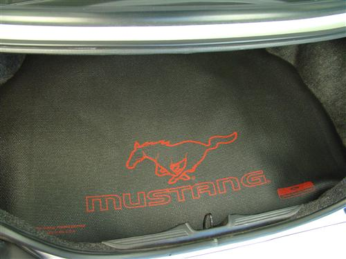 Mustang Fender Gripper Trunk Mat   with Red Pony Logo  (94-04) Coupe RED/PONY LOGO