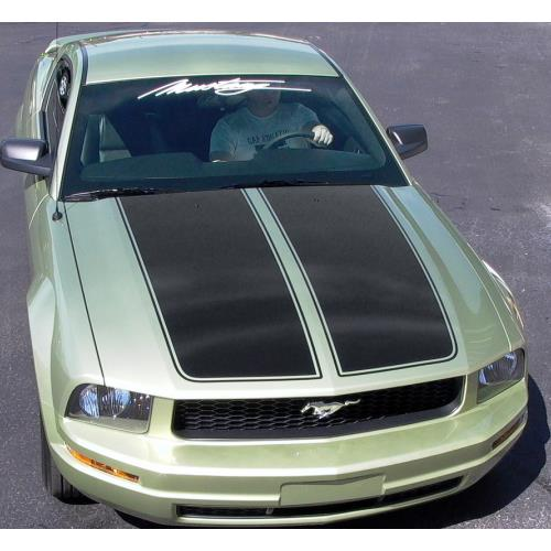 Graphic Express Mustang Dual Wide Hood Racing Stripes  - Black (05-09)