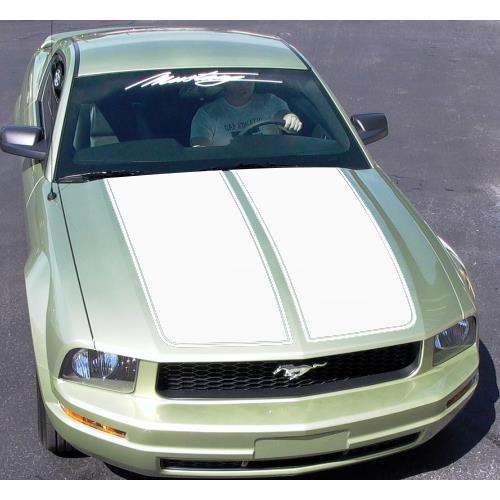 Graphic Express Mustang Dual Wide Hood Racing Stripes  - White (05-09)