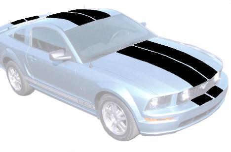 Mustang Lemans Stripe Kit, Coupe Black (05-09) K114-S6-BK
