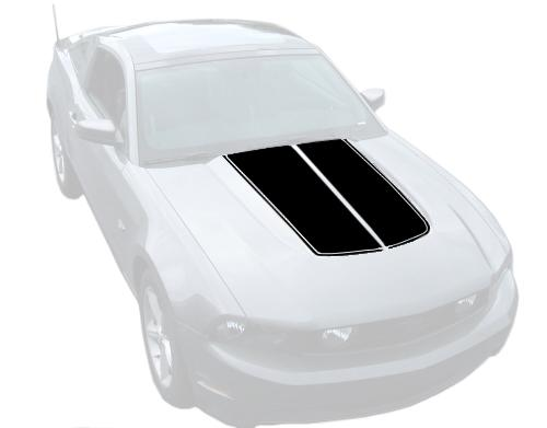 Mustang Dual Hood Stripes Black (10-12) K368-S10-B