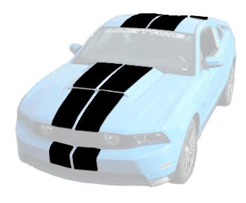 Mustang Lemans Stripes (Hood Scoop) Black (10-12) K420-S11-W11-BK