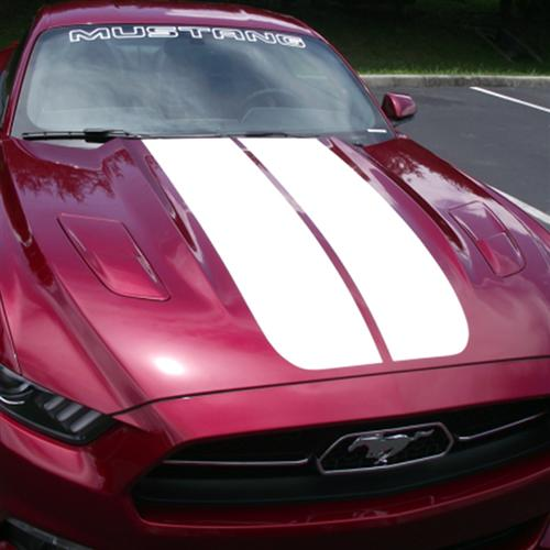 Mustang Dual Hood Stripes Gloss White (15-16)
