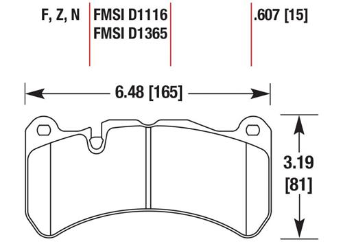 Hawk Mustang HP Plus Compound Front Brake Pads (13-14) HB616N.607